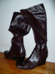 Nine West (KAS):  Stretchy tall boots that fit around monstrous calves. Wine colour which is a nice option.