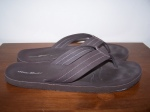 flipflops, garbage.: california, 2009.  freebie flip-flops from eddie bauer (they cost two bucks or something). i don't think there is any natural fibre in these things. i wear them about the house like they're slippers.