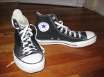 Chuck Taylors - purchased as groomsman footwear. I wear these to shows sometimes to try to blend in with the hipsters, but they're really uncomfortable. Chucks are obvisously made for basketball players with long flappy feet.