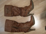Brown boots-Le Chateau -  I wear these slouchy boots a lot. Comfy and easy to walk in. They also have grippy soles which makes wipeouts less likely.