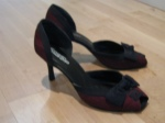 Red and black open toe pumps--Gossip (Shoe Company) -  These were super cheap, like $25 clearance. The heel is a little lower than most of my shoes