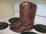 Unknown brand -  bought at Dressed In Time (off of SGR) - THE place to go for broken-in, secondhand cowboy boots. I lived in Calgary for three years, but didn't buy boots until I moved to Halifax. Ironic. But beyond comfortable.