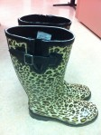 Sheila's adroable Walmart boots. She likes the adjustable tabs.